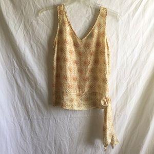 THEORY silk tie waist tank top shirt shell cami